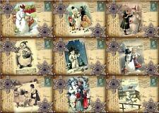 9 CHRISTMAS POSTCARD SNOWMAN  - CARD SCRAPBOOK PAPER CRAFT TAGS