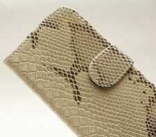 Luxury BEIGE Faux Leather Snake Skin Wallet Holder Case For SAMSUNG GALAXY S4