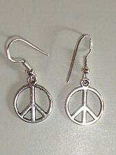 1 Paire Boucles d'Oreilles Pendante logo Peace & Love neuve