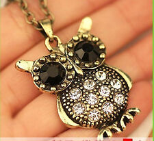Gorgeous Vintage Colourful Diamante Rhinestone Owl Necklace Chain Necklace UK