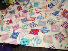 40 x 44 (approx) HAND PIECED PATCHWORK QUILT TOP VINTAGE COTTON FEED SACK FABRIC