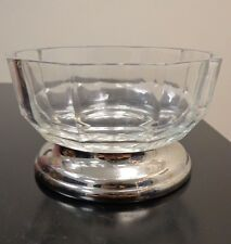 VINTAGE CLEAR GLASS CANDY DISH ON SILVER PLATE BASE