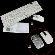 1 Set New Wireless White 2.4G Optical Keyboard and Mouse USB Receiver Kit For PC