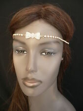 NEW WOMEN GOLD METAL BOW HEAD BAND CHAIN RHINESTONES CIRCLET FASHION JEWELRY