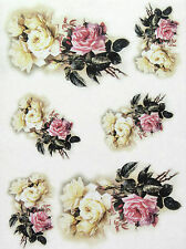 Rice Paper for Decoupage, Scrapbook Sheet, Craft Paper Pastel Roses
