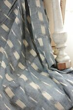 Antique Ikat fabric French flamme 18th century indigo  panel drape LARGE