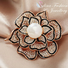 18K Rose Gold Plated Genuine Swarovski Created Pearl Elegant Black Rose Brooch