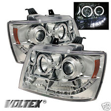 2007-2012 CHEVY TAHOE AVALANCHE HALO LED PROJECTOR HEADLIGHTS LIGHTBAR CHROME
