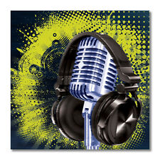 Microphone & Headphone Musical Bumper Sticker Vinyl decal music grunge car truck