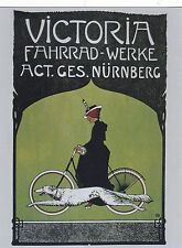 """*Postcard-""""Lady on Bicycle""""  ...w/Dog Running Next to her- ..CLASSIC--"""