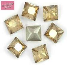 RARE! 2x Swarovski Crystal 4447 Princess Square Golden Shadow 8mm Original Pack