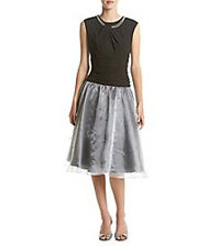 SL FASHIONS Black Silver Party Dress SZ 10, PEARL Trimmed Beaded, NWT MSRP $100