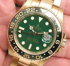 Rolex GMT-MASTER II 116718 Mens 18K Yellow Gold Green Dial Ceramic Bezel 40MM