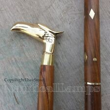 Solid Sheesham Wood Brass Eagle Head Walking Cane Vintage Style Designer Stick