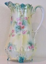 RS Prussia Pitcher Tankard Pink Green Roses Yellow Molded Leaves Antique RSP