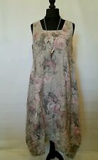 "NEW LaGeNLooK ""ARTIST"" QUIRKY BOHO ""floral"" panel LINEN DRESS,pocket, chest:54!"""