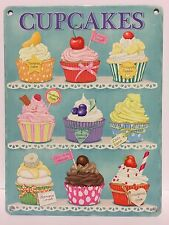 Vintage Metal Cupcakes Sign Cafe Bakery Kitchen Wall Plaques Decor (20x15cm)