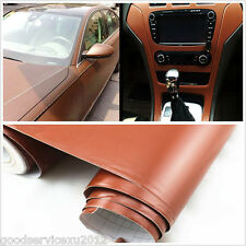 Brown Leather Texture Car SUV Interior Dashboard Film Vinyl Sticker For Cadillac