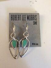Robert Lee Morris silver tone~green stone drop earrings, $30 #107