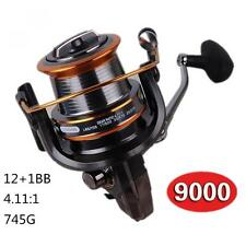 Long Shot Saltwater Spinning Fishing Reel 9000, 12+1 BB Metal Spool Surf Casting