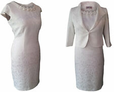 CREAM MOTHER OF THE BRIDE 2 PIECE OUTFIT FORMAL JACKET DRESS WEDDING SIZE 14