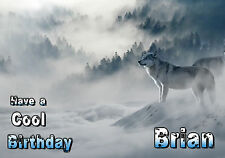Wolf Wolves Snow Landscape PERSONALISED Happy Birthday Greeting Gothic Card