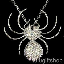18K WHITE GOLD PLATED BIG SPIDER PENDANT NECKLACE USE SWAROVSKI CRYSTALS COOL