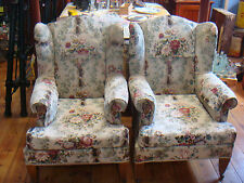 VINTAGE WING BACK G/MOTHER & G/FATHER CHAIRS PAIR