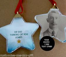PHOTO MEMORY STAR *SECONDS* LOVING MEMORY CHRISTMAS BAUBLE TREE DECORATION