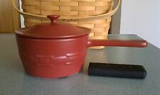 Longaberger Flameware Sauce Pan & Lid Paprika red NEW in box Healthy Cookware