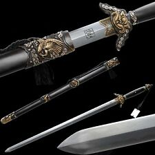 Rare Top Quality Chinese Sword Folded Pattern Steel Copper Ebony Sheath Sharp