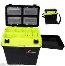 HI VIZ YELLOW SEA FISHING TACKLE SEAT BOX WITH SIDE TRAY FOR SEA BOAT FISHING