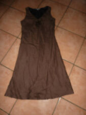STEILMANN SIZE 12 BROWN LINEN FULLY LINED V NECK SUMMER DRESS