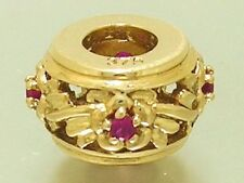 Bd047- Genuine 9ct Gold Natural Ruby Blossom Bead Charm REAL Gold REAL Gems