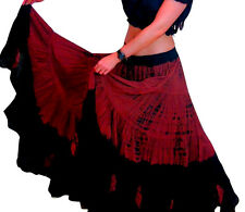 25 Yard Tribal Belly Dance Dancing Cotton Skirt Gypsy Black Maroon L36""
