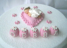 Personalised edible pink heart cushion & baby 1st Birthday cake topper & flowers