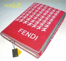FENDI raspberry TERRYCLOTH Houndstooth F Logo BEACH Towel Blanket NWT Authentic!