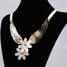 """ss14639 Shell pearl flower pendant necklace 21"""""""