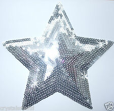 8 inch fabric silver sequin star iron-on applique tshirt garment transfer patch