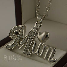 "18ct 18k White Gold Plated Mum Pendant Clear Crystals 18"" Chain Necklace UK -125"