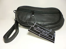 2 Pair Eyeglasses Black Soft Leather Deluxe Case + Side Storage=3 Zippers#30679