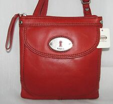 NEW FOSSIL MADDOX SCARLET RED LEATHER+SILVER TONE HARDWARE MINI CROSSBODY BAG