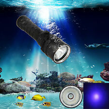 Underwater 100M 10W 395-492nm XPE UV BlueLight LED Scuba Diving Flashlight Torch