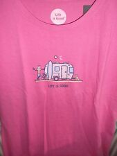 """NWT LIFE IS GOOD WMNS COTTON CRUSHER TEE- JAKE & ROCKET..""""AIRSTREAM SURF"""" (XL)"""