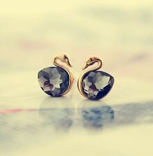 Made in Korea  Gold plated Black Crystal swan Earring Studs NEW!