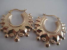 9ct yellow gold LARGE fancy Victorian creole hoop earrings