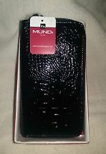NWT MUNDI Box Classic Double Zip Organizer Wallet Clutch Bag Black Faux Croc