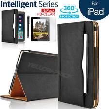 Leather Rotating Smart Case Wallet Cover Stand for iPad 2/3/4+Protector & Stylus