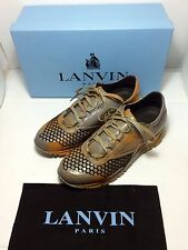 =RARE= LANVIN Mens Runway Grey Spray Paint Orange Futuristic Leather Sneakers 10