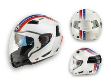 CASCO MOTO MODULARE CROSSOVER AIROH EXECUTIVE STRIPES WHITE GLOSS TG M